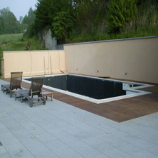 Dalle en pierre bleue naturelle pour plots chez pierre et - Terrasse sur plot sur terre ...